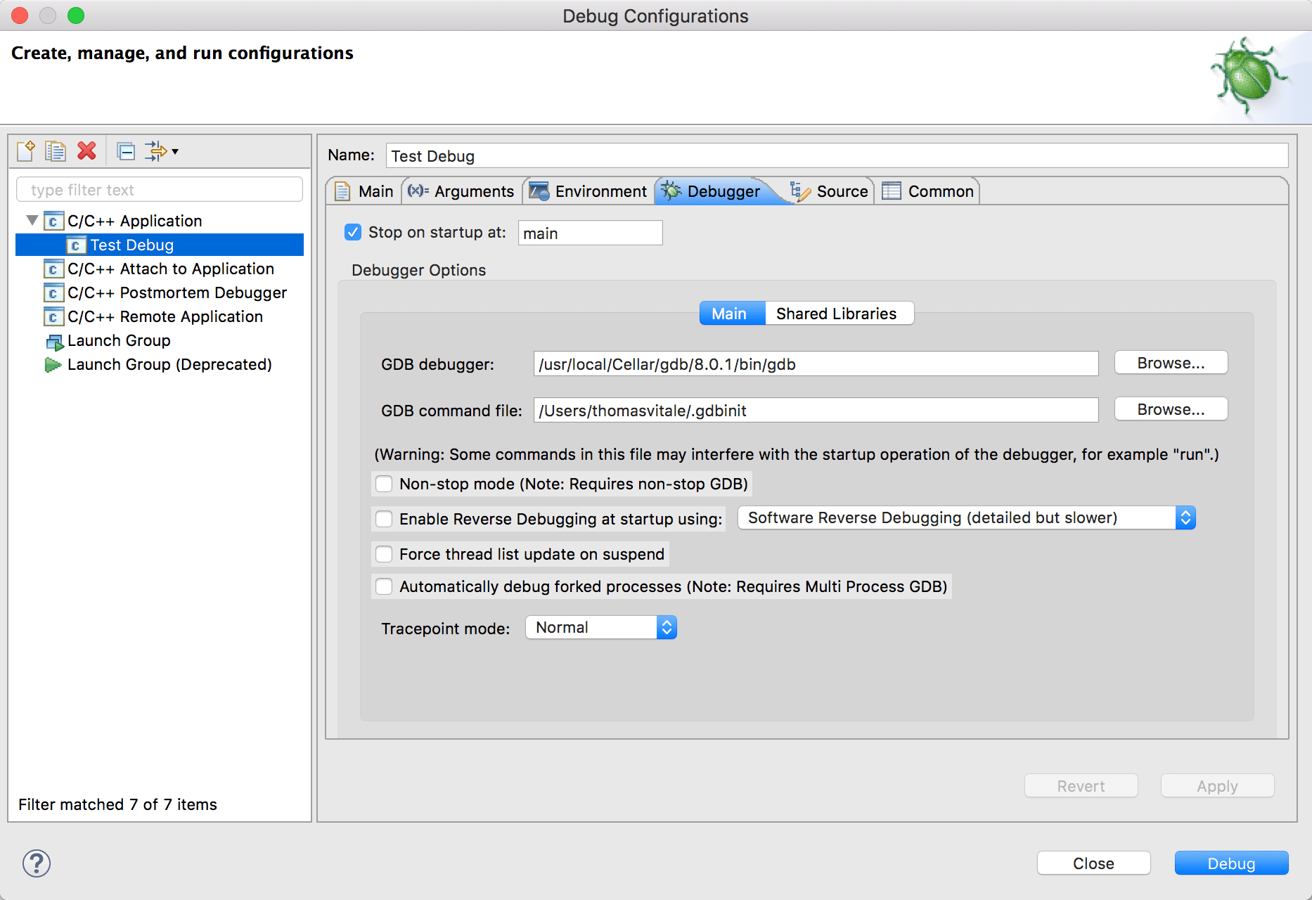 Eclipse window for debug configurations