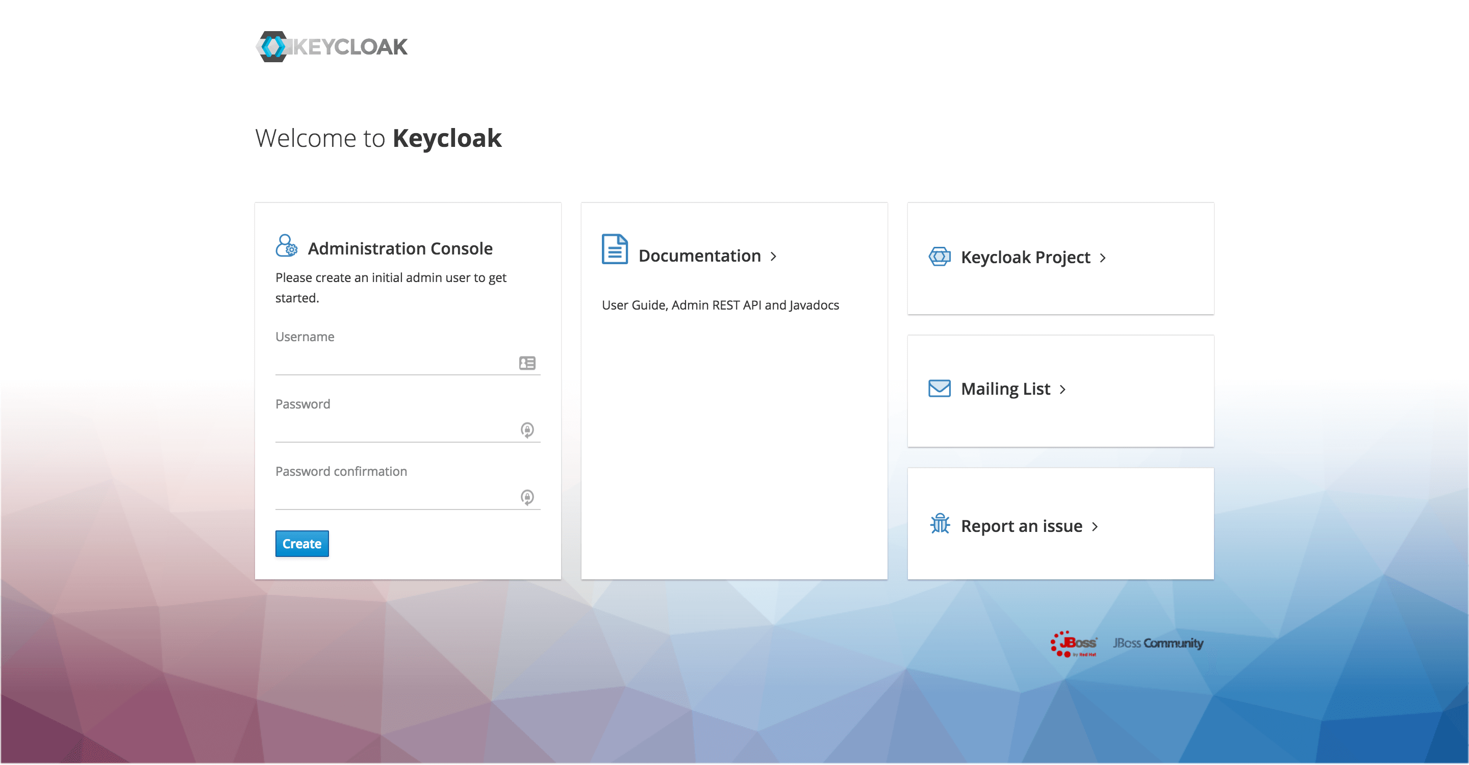 Keycloak form to create admin account