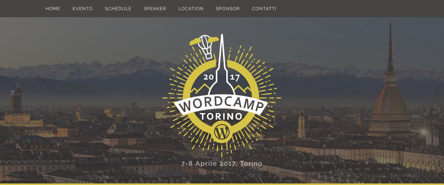A screenshot of the header of WordCamp Torino 2017 website, with logo and picture of Torino